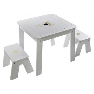 Beistelltisch mit Aufbewahrung, Tischplatte + 2 Hocker für Kinderzimmer
