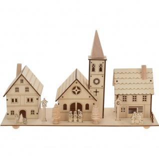 LED Weihnachtsszene: Kirche + Villen, Holzdekoration mit Hintergrundbeleuchtung - Home Styling Collection