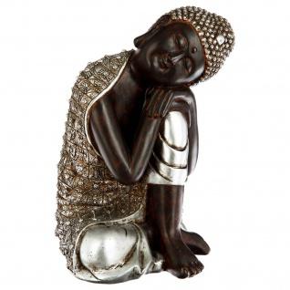 Buddha-Figur mit silbernem Gewand, H. 29, 5 cm