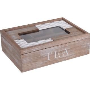 Tee-Behälter aus Holz mit 6 Fächern, Teebox, Teekiste, Teedose 24x17x8 cm