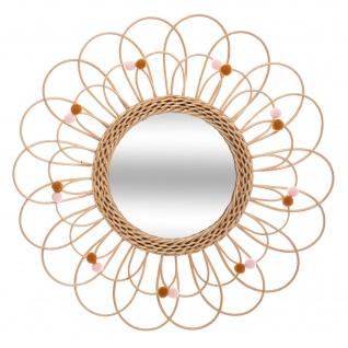 Rattan-Spiegel FLOWER, Ø 56 cm, rosa Korallen - Atmosphera
