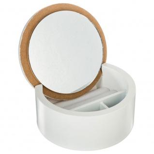 Kosmetik-Organizer mit Spiegel, Schmuckschatulle, Holz, rund - Atmosphera