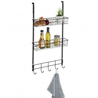 Türregal mit Haken für Küche, schwarz, WENKO
