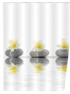 Duschvorhang Stones with Flower - waschbar, mit 12 Duschvorhangringen