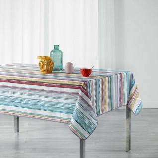 Tischdecke, rechteckig, CALY, 150 x 240 cm, weiß mit bunten Streifen