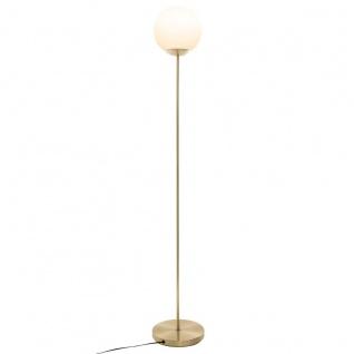 Stehlampe mit rundem Lampenschirm, Metall, gold, 134 cm - Atmosphera