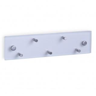 Schlüsselaufhänger 30 x 8 cm + 5 Haken, Glas, Edelstahl, ZELLER