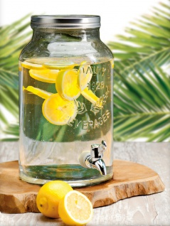 EH Excellent Houseware, Glasdose für Getränke mit Wasserhahn und Deckel 5, 5 L