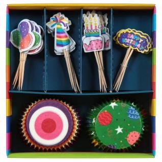 Set Dekorationen für Muffins, Mini-Cupcakes, 48 Artikel, Geburtstagsfeier