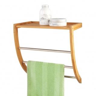 Handtuchhalter + Badablage, 2 in 1, Verbindung von Bambus und Stahl, ZELLER