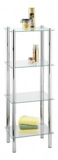 WENKO Regal Yago viereckig mit 4 Glasablagen - Badregal, Stahl 40 x 104 x 30 cm