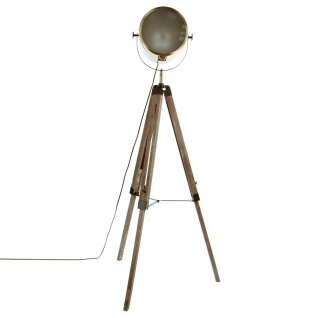 Stehlampe mit Projektor aus Metall und gebürstetem Holz, Schwarz