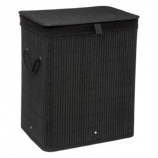 Wäschekorb BAMBOU, 2 Fächer, schwarz - 5five Simple Smart
