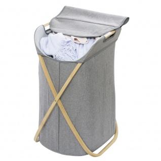 BAHARI Wäschekorb, Polyester- und Baumwollbeutel auf Faltgestell - 79 L, 68 x 46 x 40 cm, WENKO