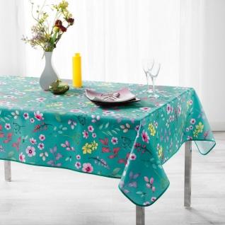 Tischdecke, rechteckig, FRESHY MINT, 150 x 240 cm, pfefferminzgrün, Blumen-Motiv