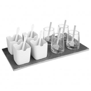 Set von 8 Schüsseln mit Teelöffel zum Servieren von Desserts, Soßen