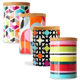 Porzellan Lebensmittelbehälter in bunten Designs Lebensmittelbehälter Box mit Deckel Küchendosen Deko Boxen