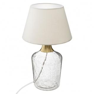 Tischleuchte, aus Crackelglas und Metall, Höhe 37, 5 cm, Glas - Atmosphera