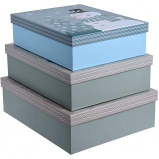 3 Weihnachtsboxen, Motiv Schneemann, blau - Home Styling Collection