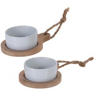 Set für Snacks, Dressings und Vorspeisen - 2 runde Porzellanschalen in Schalen