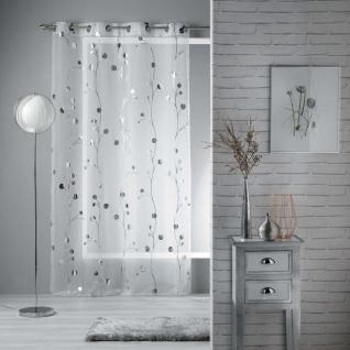 Gardine mit Schlaufen CLOCHETTES, 140 x 240 cm, weiß mit silbernem Aufdruck