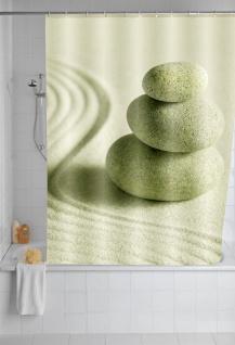 Wenko, Duschvorhang Sand und Stone waschbar mit 12 Duschvorhangringen