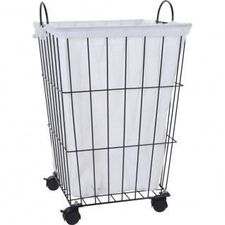 Wäschekorb, mobil auf Rädern, Metallbehälter mit Baumwollpatrone - Storagesolutions