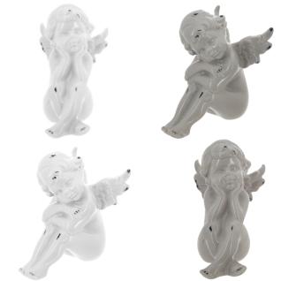 Deko Figur Engel Keramik, Keramikfiguren, dekorative Figuren, 13 x 10 x 14 cm