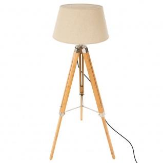 Stehleuchte Stativ Fleece, solide Beleuchtung mit Lampenschirm Bambussockel - Atmosphera