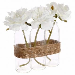 Rosen aus Glas, Rosen, 3 Stück, Rose Blanche, L. 17 x l. 5, 5 x H. 23 cm