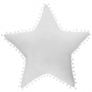 Kissen Stern weiß, weiße Pompons - Atmosphera for kids