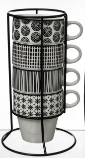 Set aus 4 Stück Tassen 260 ml mit Ständer, Porzellantassen, Kaffeetassen