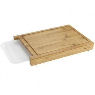 Schneidebrett mit einziehbarem Tablett, Bambus Küchenhelfer mit rutschfesten Füßen - 35 x 25 cm, WENKO