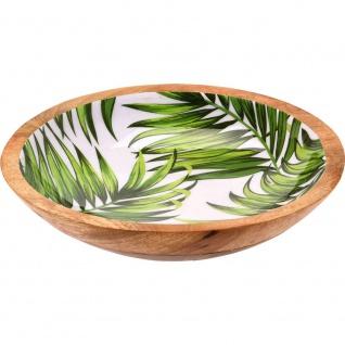 Emaillierte Deko-Schale aus Mangoholz, dekorativer runder Teller mit Palmblatt-Druck