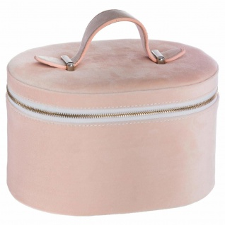 Kosmetiktasche mit Spiegel, Velours-Organizer für Schmuck und Kosmetika, in schöner rosa Farbe