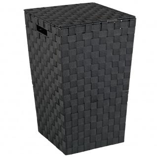 Wenko Wäschetruhe Adria Square Fassungsvermögen 48 L, Polypropylen, schwarz, 33 x 33 x 53 cm