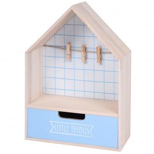 Mini Kommode mit Schublade und Fotoaufhänger 28 x 20 cm hellblau - Home Styling Collection