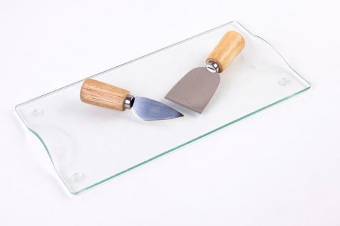 Glasplatte zum Servieren von Käse und Aufschnitt, dekorativer Teller mit Messern. - EH Excellent Houseware