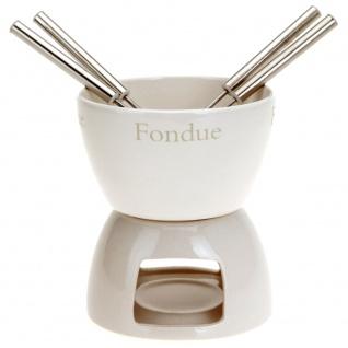 Fondue-Set, Keramik-Set für Schokoladen- oder Käsefondue für 4 Personen
