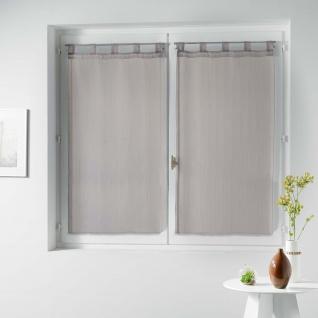 Paar rechts Schlaufen Voile Raye Horizon Taupe, Polyester, anthrazit, 160 x 60 cm - Douceur d'intérieur
