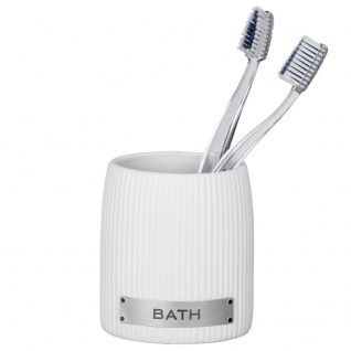 Becher für Zahnbürste und Zahnpasta, BAT-Behälter aus Keramik - WENKO