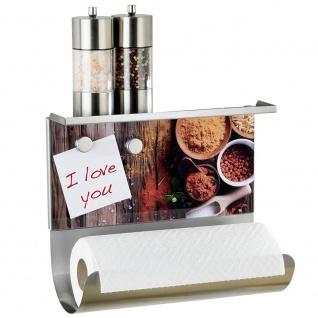 WENKO Magnetischer Rollenhalter, Papierhandtuchhalter Pepper - mit Ablage 3in 1