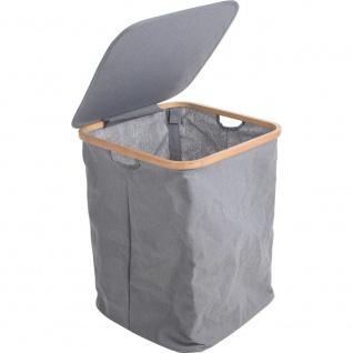 Wäschesack, schmutziges Leinen, Textilbehälter mit Bambusrand, 1 Fach - Storagesolutions