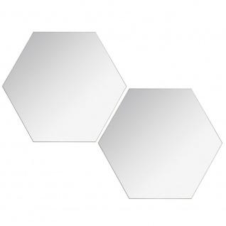 Set von sechseckigen Spiegeln, zwei dekorative Spiegel, einfach mit Kleber zu montieren.
