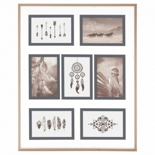 Fotorahmen, Glas, 7 Elemente, Holzrahmen, Atmosphera