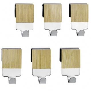 WENKO Bamboo Premium Kleiderhaken - 6 Stück im Set