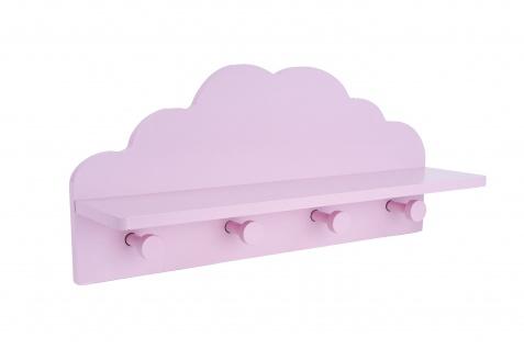 Kindergarderobe Regal mit 4 Kleiderhaken für Kinderzimmer Wolkenform Holz rosa oder weiß