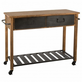 """Mobile Servierkonsole """" Ygor"""", aus dunklem Holz kombiniert mit Eisen, mit Griffen und 2 Schubladen, ein modisches und stilvolles Möbelstück"""
