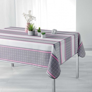 Tischdecke, rechteckig, FELIZ PINK, 150 x 200 cm, weiß-grau