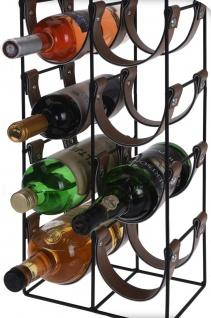 Weinregal Flaschenregal für 10 Flaschen - Metall 60x24x16 cm